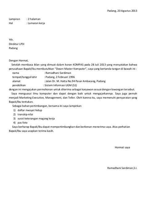 contoh surat lamaran kerja karena lowongan pekerjaan di