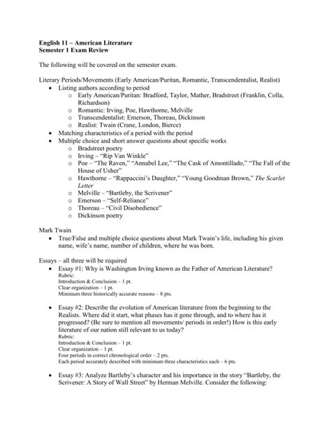 American Literature Essays by Essay Questions American Literature