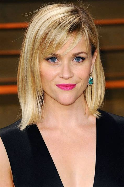 bob haircuts elle long bobs bangs and reese witherspoon on pinterest