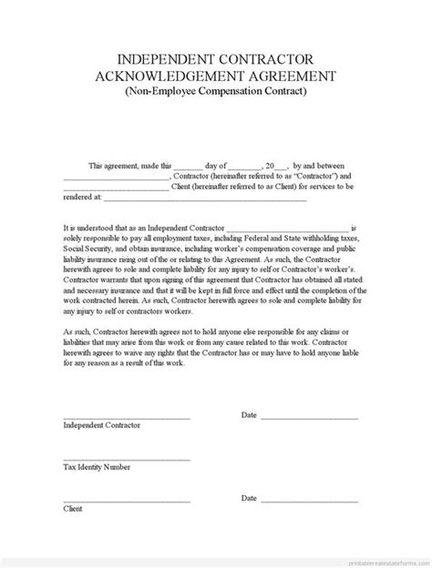 acknowledgement agreement template sle printable indep contractor acknowledgement