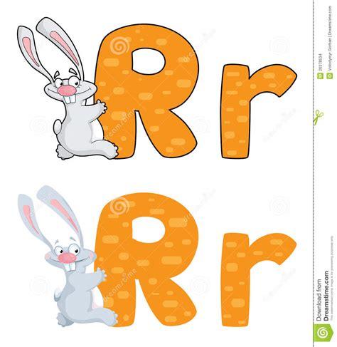 R Rabbit letter r rabbit stock vector illustration of sign text