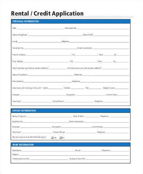 Rental Credit Application Form Pdf Printable Application Form Sles 20 Free Documents In Word Pdf