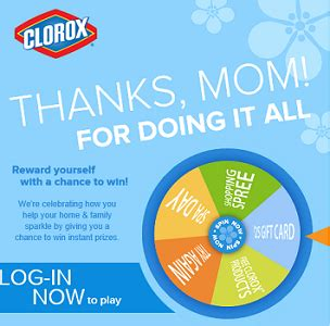 Promo Games Sweepstakes - clorox wheel of thanks instant win game sweepstakes
