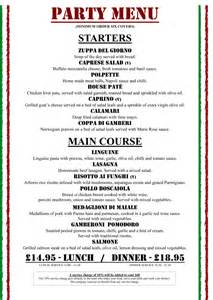 party menu at milano italian restaurant in birmingham