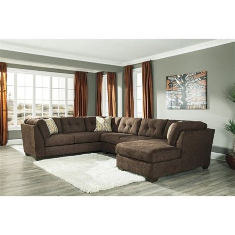 ashley sectional sleeper ashley delta city 3 piece sleeper sectional in chocolate