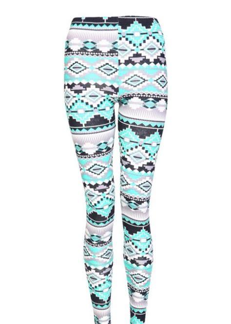 Mint Pattern Leggings | mint green aztec tribal ethnic pattern cotton print