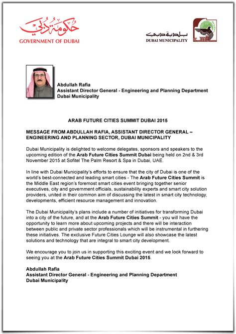 Sponsorship Letter Dubai Dubai Municipality Letter Arab Future Cities Summit
