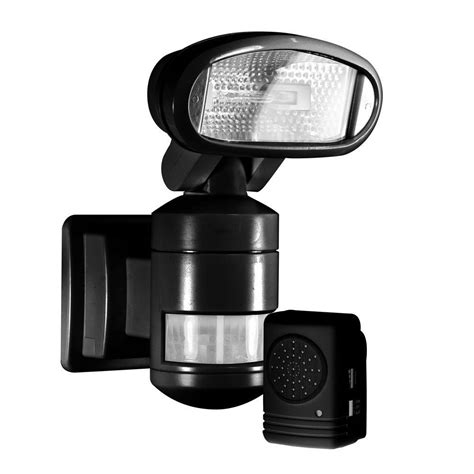 motion light with alarm nightwatcher security 220 degree outdoor black motorized