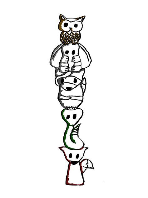 aztec totem poles   clip art  clip