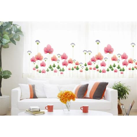 size wall stickers pink flowers 3 wall sticker 130x42cm size ay928
