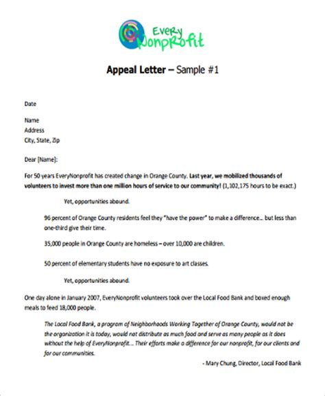 writing a charity appeal letter sle appeal letter format 9 free documents in word pdf