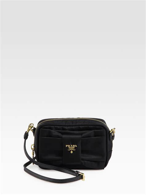 Prada Cross Bag by Prada Tessuto Bow Detail Cross Bag In Black Lyst