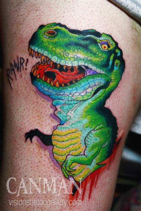 cartoon t rex tattoo t rex by canman tattoonow