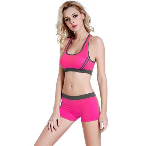 Bra Sport Set Celana tank top shorts suit seamless sports bra sets fitness stretch ebay