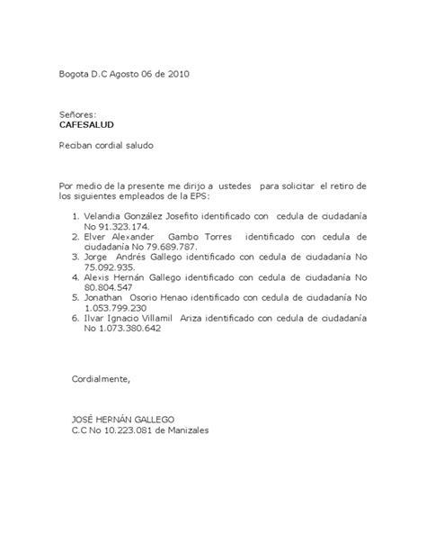 cafesalud formatos y documentos carta cafesalud