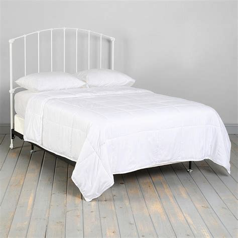 vintage white iron platform full size bed with headboard