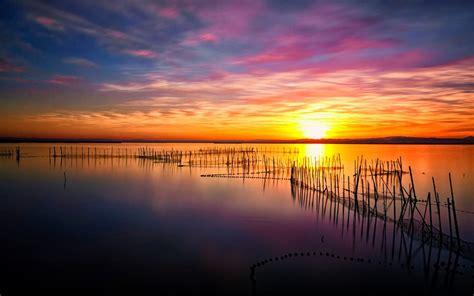 magical sunset albufera lake hd wallpaper   mobile wallpaperscom