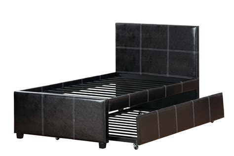 size espresso faux leather bed frame trundle