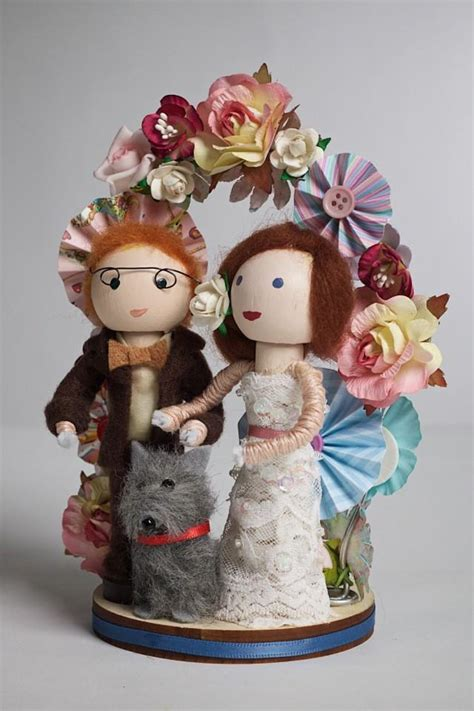 Handmade And Groom Cake Toppers - handmade customized and groom wooden peg doll