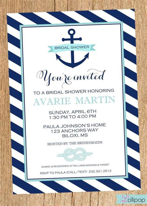 free printable wedding invitations nautical anchor nautical bridal shower printable party invitation