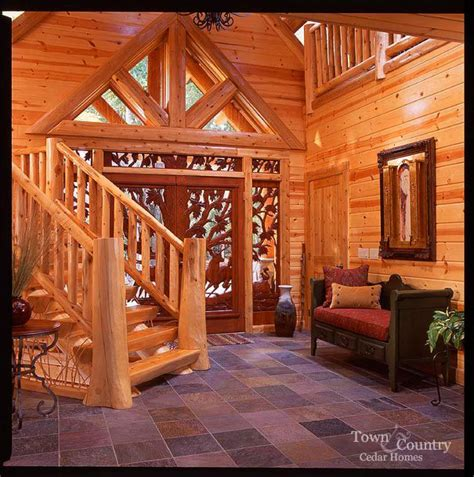 stunning rustic cabin plans loft with wooden staircase love the floor dream home pinterest foyers luxury