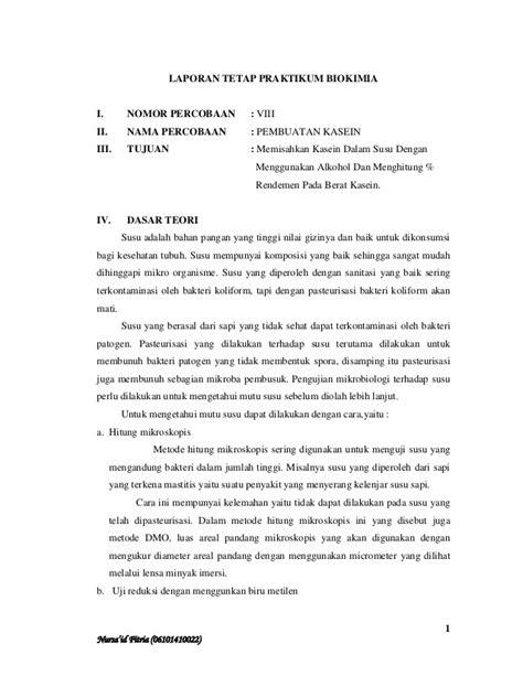 pembuatan laporan praktikum kimia laporan tetap praktikum biokimia 1 pembuatan kasein