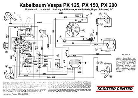 wiring loom grabor vespa px italy 1981 1983 12v point