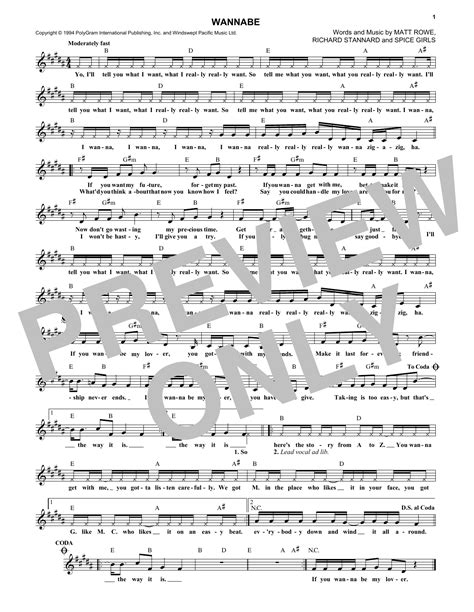 lyrics spice wannabe wannabe sheet direct