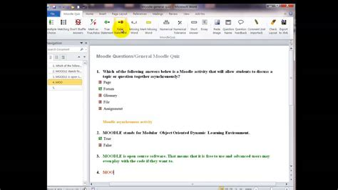 template moodle word quiz template v2 1 for moodle quiz question import