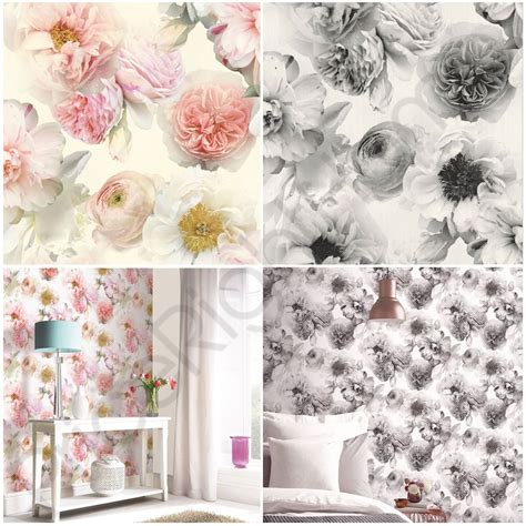 grey wallpaper on ebay arthouse diamond bloom floral wallpaper flowers glitter