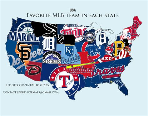 mlb map most popular mlb team by state sideleague