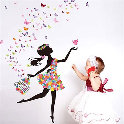 Bedroom Quote Wall Stickers butterfly girl removable wall art sticker vinyl decal diy