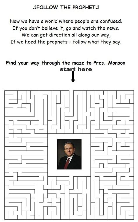 printable lds mazes the prophet maze and lds on pinterest