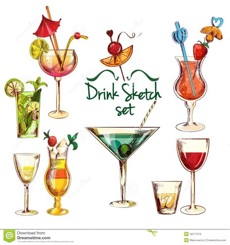manhattan drink illustration sketch cocktail set stock vector image 49171573