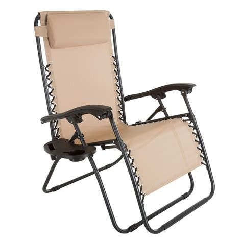 Zero Gravity Patio Chair Garden Oversized Zero Gravity Patio Lawn Chair In Beige M150114 The Home Depot