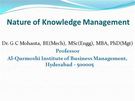 Alternative Transcript Mba by Nature Of Knowledge Management And Alternative Views And