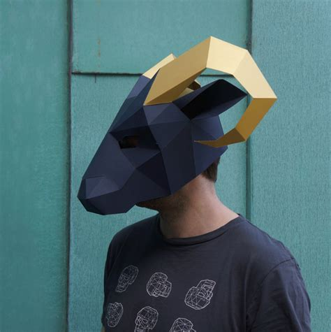 How To Make A 3d Mask Out Of Paper - ram mask build your own low poly mask with this pdf