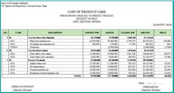 Management Accounts Sample Reports Ff Cost Accounting Module
