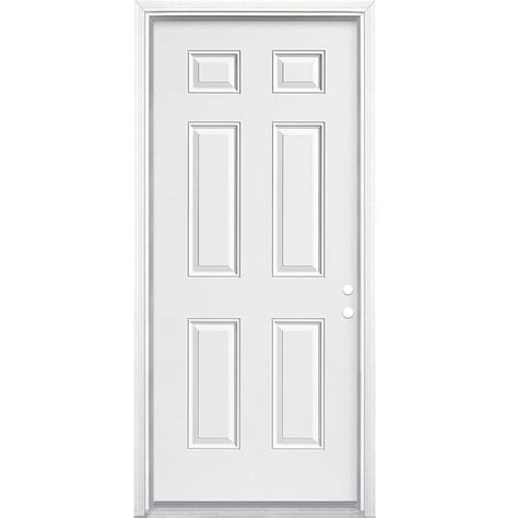 shop jeld wen 6 panel insulating left inswing white steel primed prehung entry door