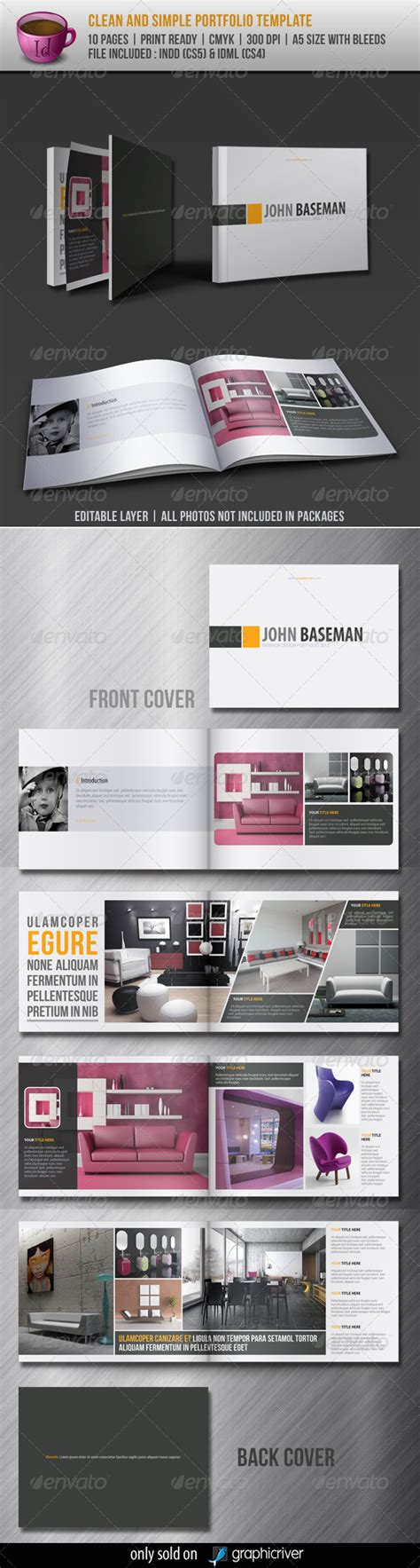 Clean And Simple Portfolio Template By Dee46 Graphicriver Portfolio Layout Template Indesign