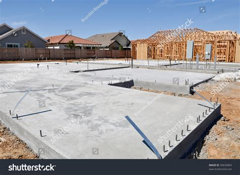 new home foundation new home foundation construction stock photo 59635804