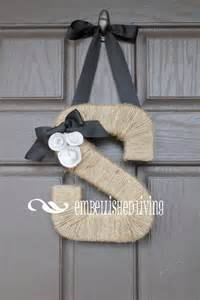 Front Door Hanging Custom Monogram Wreath Farmhouse Style Jute Letter