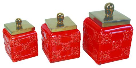 red ceramic kitchen canisters photo 9 kitchen ideas ceramic canisters red set of 3 red traditional