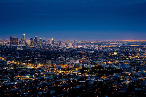 Night Lights In Los Angeles California And Cityscape California Lights
