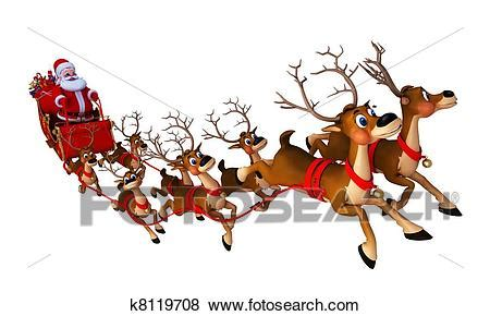 Stock Illustration of santa with sleigh k8119708 - Search ... Free Clip Art Santa And Reindeer