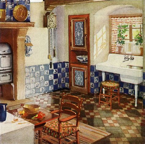 1920s Kitchen Design 1929 Kitchen With Blue Delft Tile 1920s European Influence On American Kitchen Design