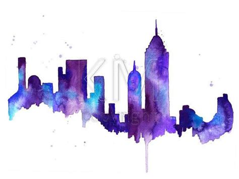watercolor painting print new york city skyline blue