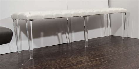 lucite leg bench custom tufted leather with lucite leg bench for sale at