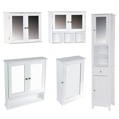 Mirrored Bathroom Tallboy Bathroom Cabinet Single Mirrored Doors Wall Mounted Tallboy Units Ebay