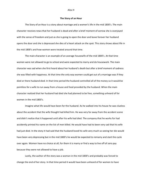 Kate Chopin The Story Of An Hour Essay by The Story Of An Hour Essay